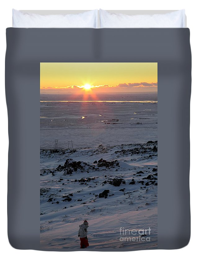 Sunrise Duvet Cover featuring the photograph sun by Milena Boeva