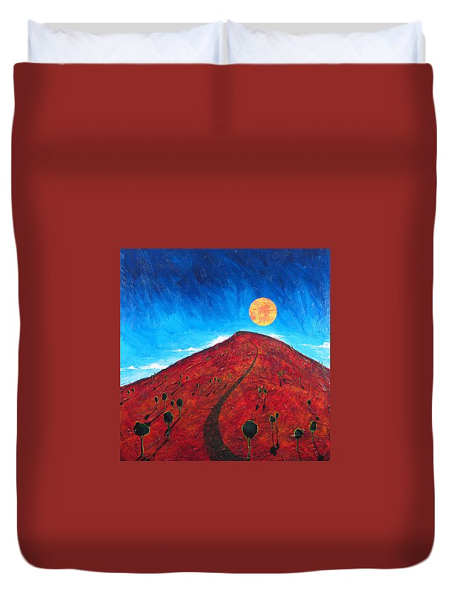Landscape Duvet Cover featuring the painting Sun Over Red Hill by Rollin Kocsis