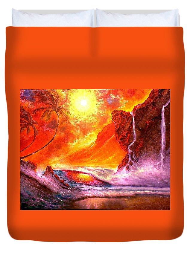 Oil Paint Hawaii Seascape Waterfall Sunset Maui Kauai Duvet Cover featuring the painting Sun Setting Hawaii by Leland Castro