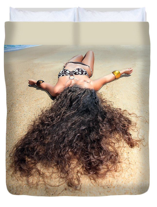 Girl Duvet Cover featuring the photograph Sunbathing Woman by MotHaiBaPhoto Prints