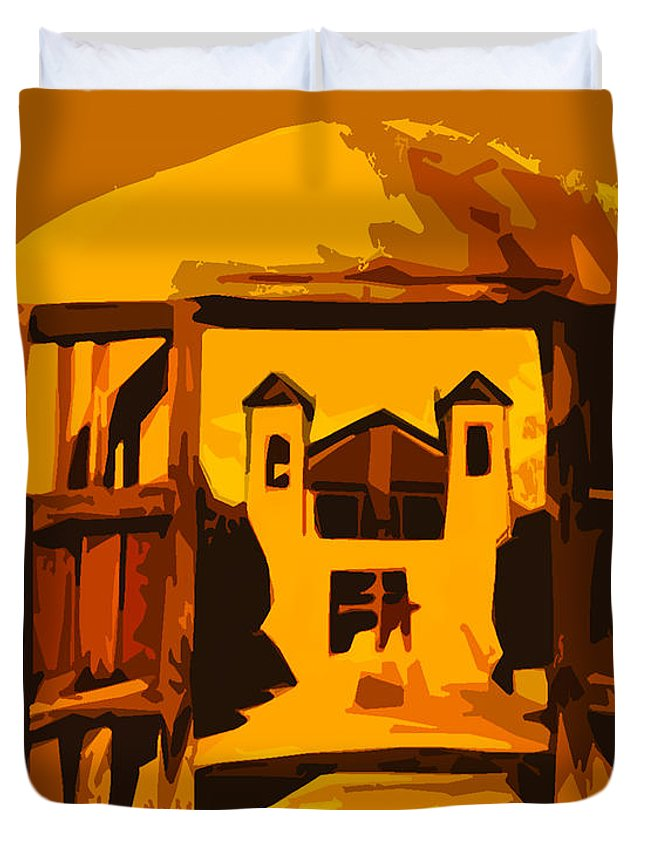 Chimayo Duvet Cover featuring the photograph Sundown Chimayo by Terry Fiala