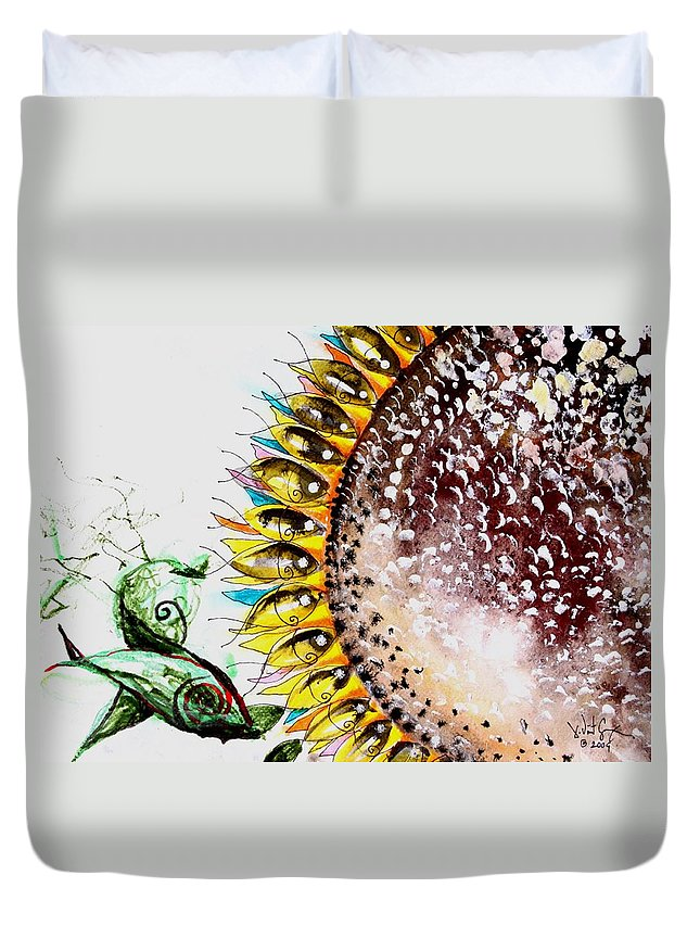 Duvet Cover featuring the painting Sunflower Fish 3 by J Vincent Scarpace