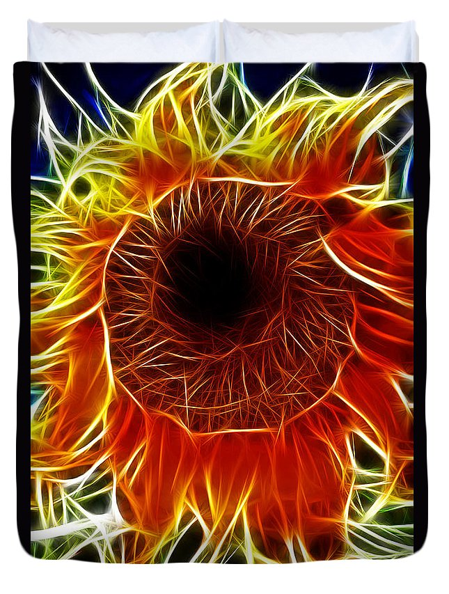 Fine Art Photography Duvet Cover featuring the photograph Sunflower Fractal by Donna Greene
