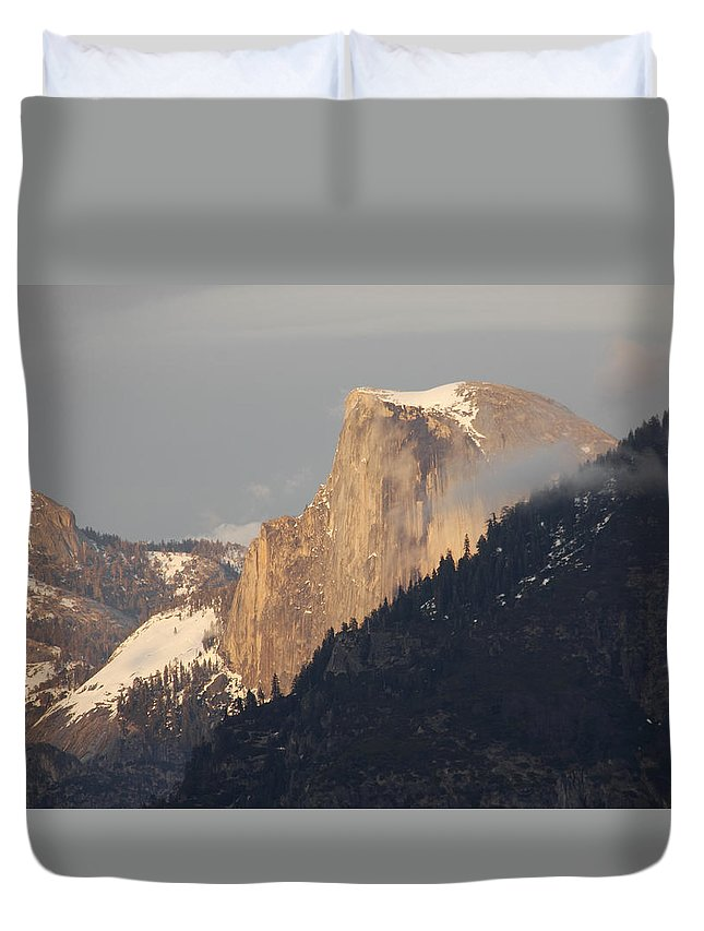 Sunlit Half Dome Duvet Cover featuring the photograph Sunlit Half Dome by Wes and Dotty Weber