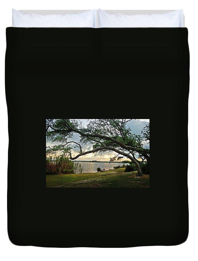 Alabama Photographer Duvet Cover featuring the digital art Sunrise Across The Lagoon by Michael Thomas