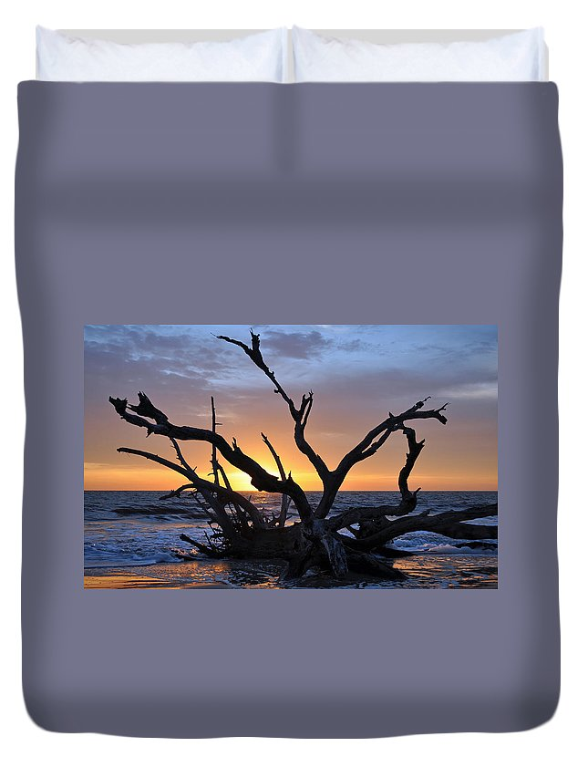 Jekyll Island Duvet Cover featuring the photograph Sunrise At Driftwood Beach 5.2 by Bruce Gourley