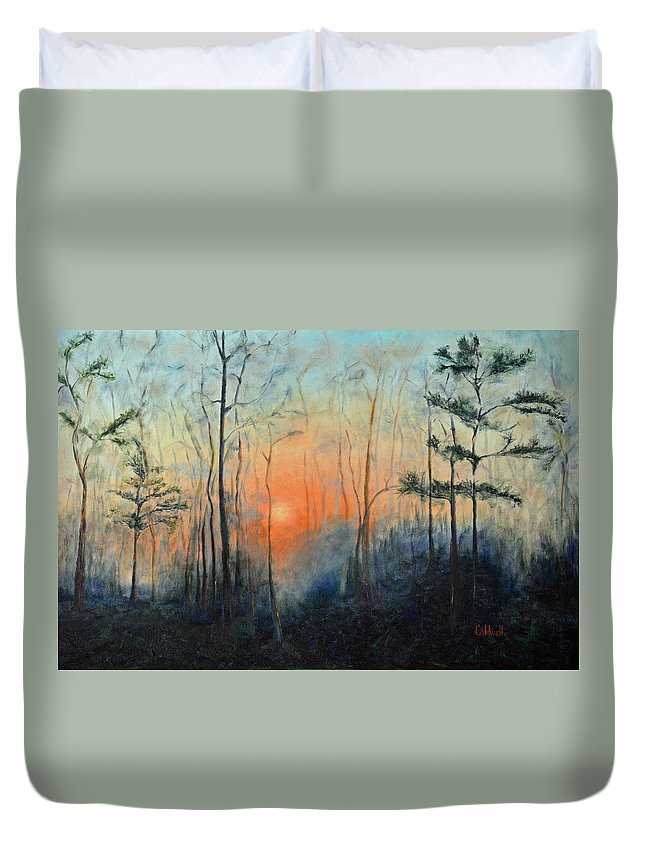 Sunrise Duvet Cover featuring the painting Sunrise At Pike Road by Patricia Caldwell