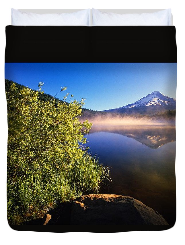 Outdoors Duvet Cover featuring the photograph Sunrise Fog On Trillium Lake by Natural Selection Craig Tuttle