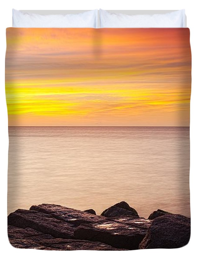 Beach Duvet Cover featuring the photograph Sunrise On The Jetty Texas by Matt Suess