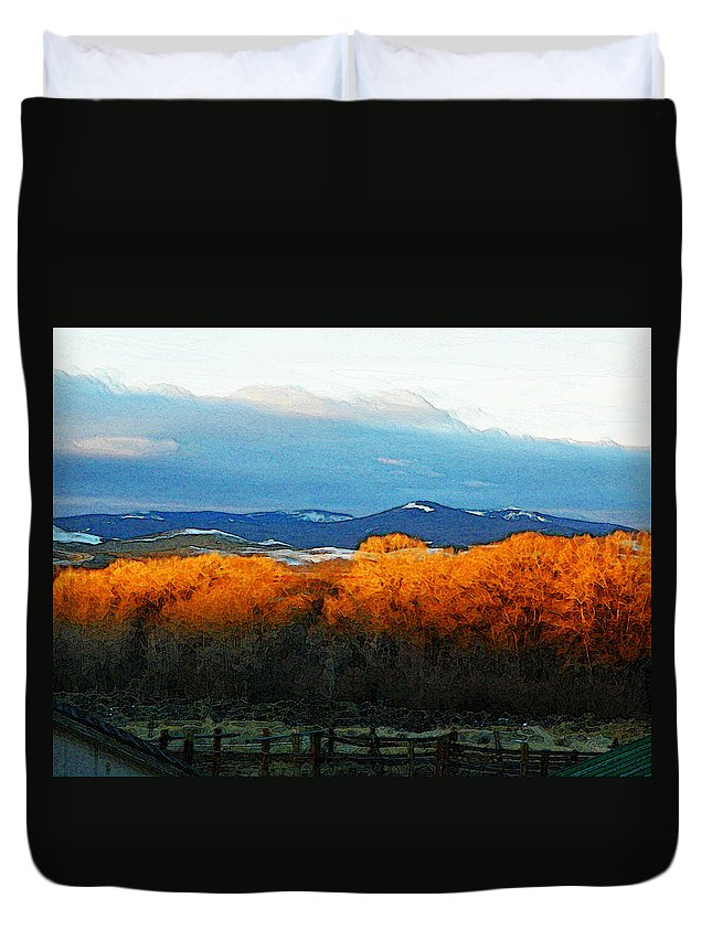 Abstract Duvet Cover featuring the photograph Sunrise On Trees by Lenore Senior