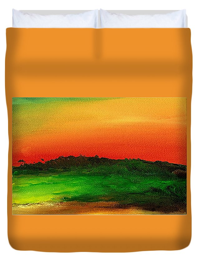 Hawaii Duvet Cover featuring the painting Sunrise Over Cane Field by Rob M Harper