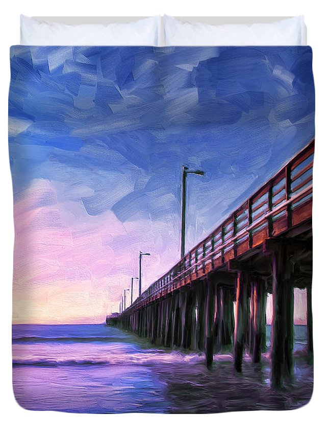 Sunset Duvet Cover featuring the painting Sunset At Avila Beach by Dominic Piperata