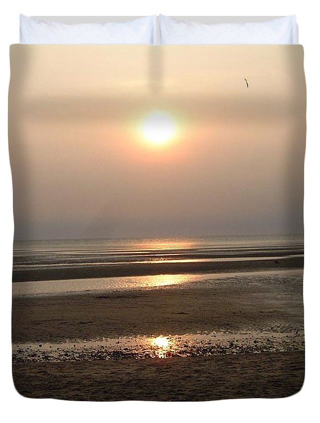 Sunset Duvet Cover featuring the photograph Sunset At Campground Beach Eastham Ma Cape Cod by Sven Migot
