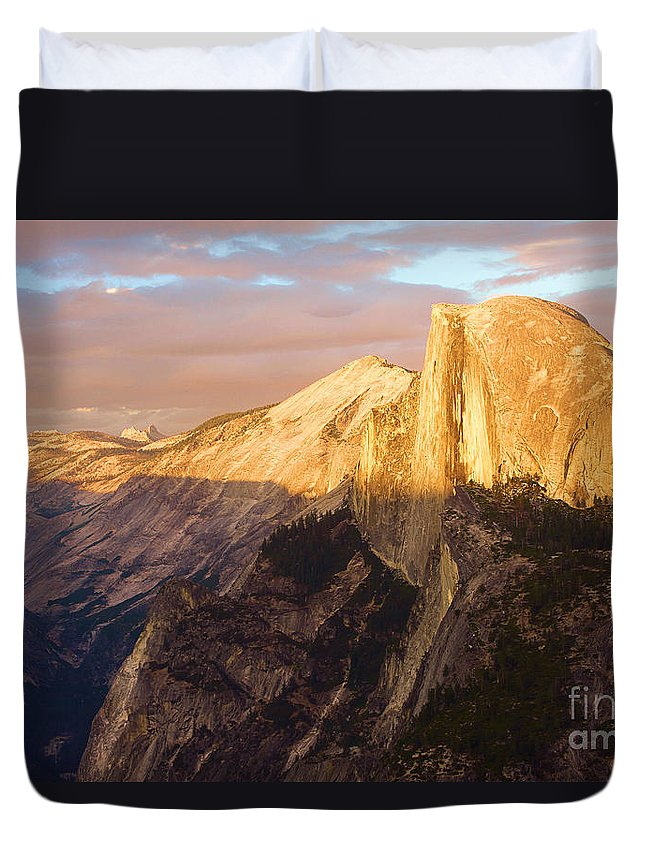 Half Dome Duvet Cover featuring the photograph Sunset At The Dome by Adam Jewell