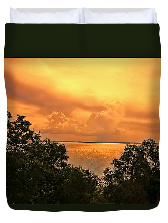Clouds Duvet Cover featuring the photograph Sunset At The Esplanade by Douglas Barnard