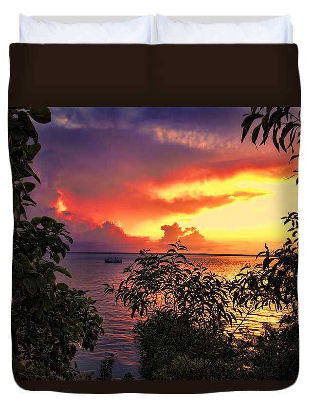 Darwin-northern Territory Duvet Cover featuring the photograph Sunset At The Top-end V2 by Douglas Barnard