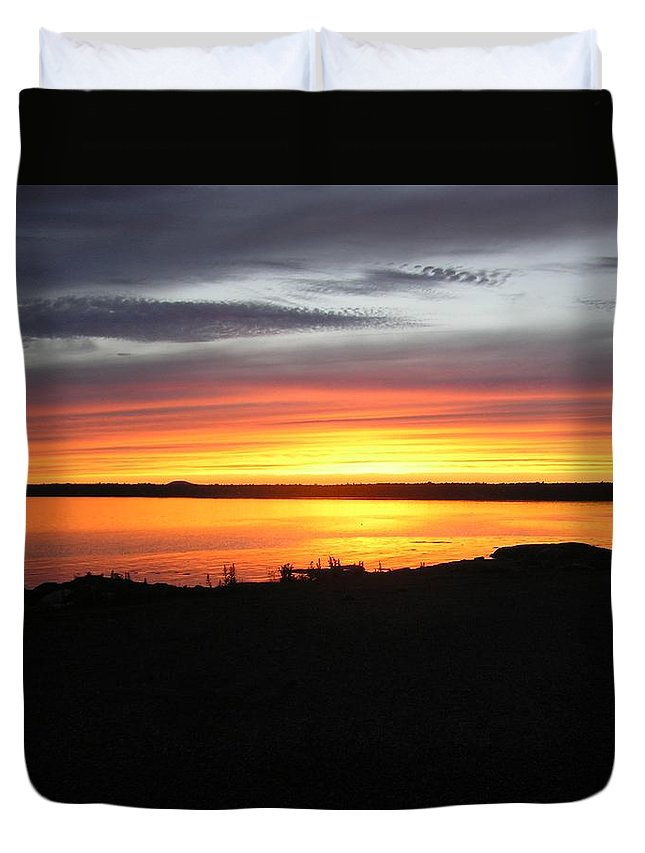 Sunset Duvet Cover featuring the photograph Sunset Bar Harbor Maine by Sven Migot