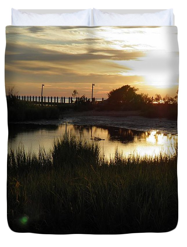 Sunset Duvet Cover featuring the photograph Sunset Cape Charles Virginia by Sven Migot