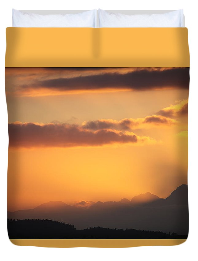 Sunset Duvet Cover featuring the photograph Sunset by Francesco Scali