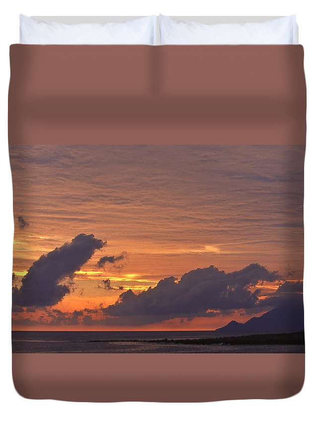 Lighthouse Duvet Cover featuring the photograph sunset III by Michele Mule'