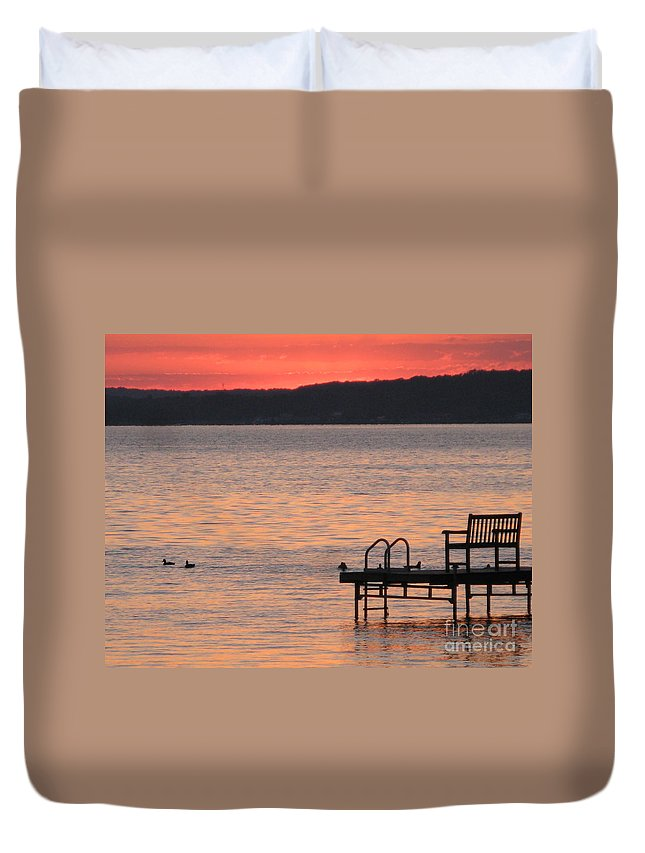 Lake Duvet Cover featuring the photograph Sunset On The Dock by Jack Schultz