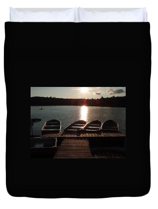 Sabattis Duvet Cover featuring the photograph Sunset Over Bear Pond Sabattis Adventure Camp by Sven Migot