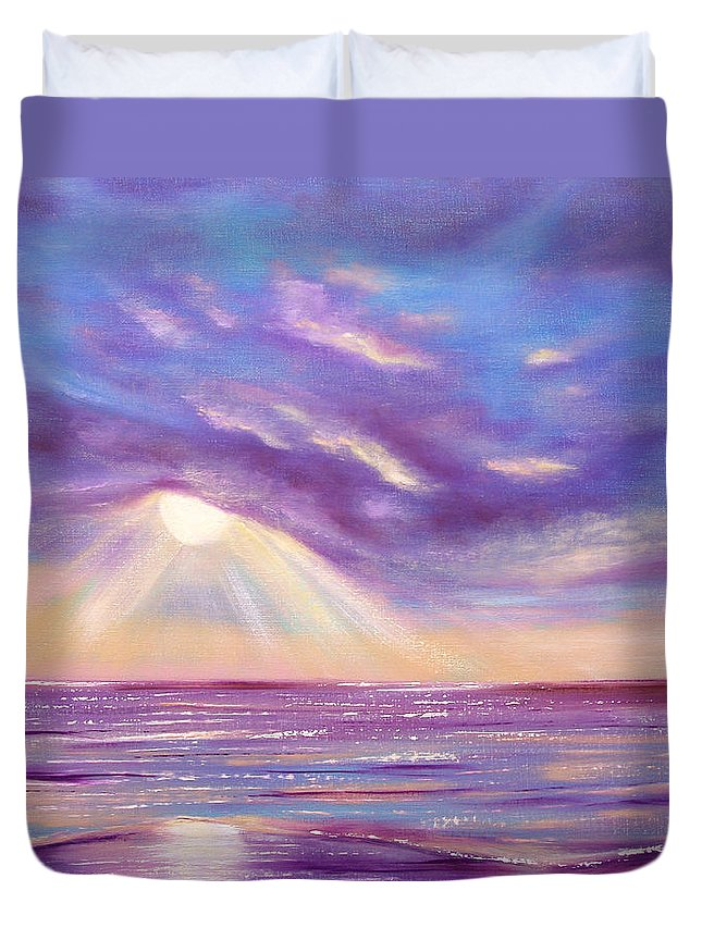 Sunset Duvet Cover featuring the painting Sunset Spectacular by Gina De Gorna