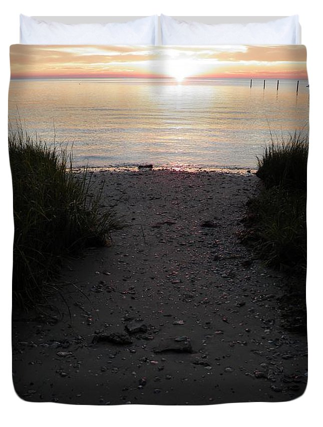 Sunset Duvet Cover featuring the photograph Sunset Through The Grass Cape Charles Virginia by Sven Migot