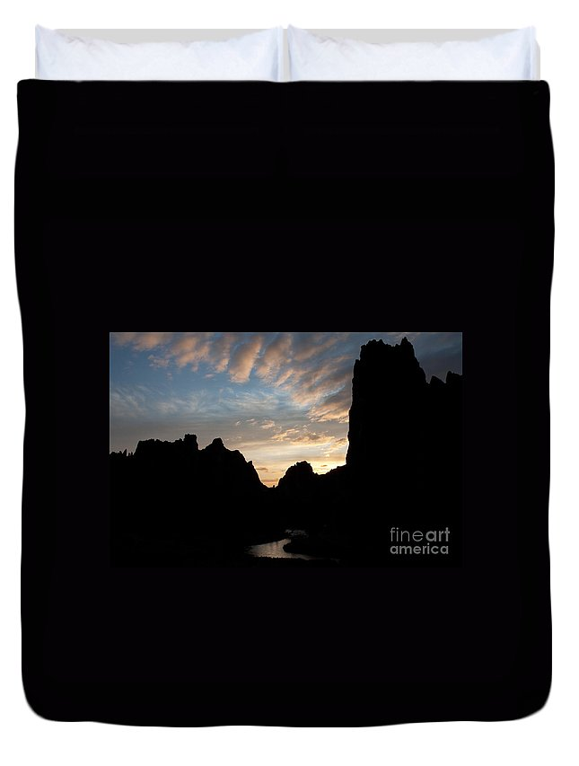 America Duvet Cover featuring the photograph Sunset With Rugged Cliffs In Silhouette by Karen Lee Ensley