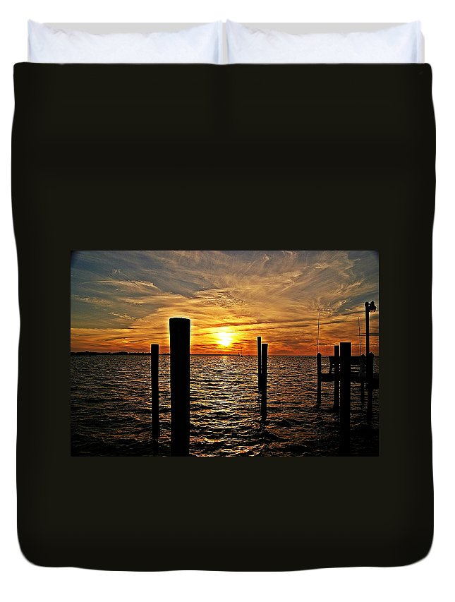 Sunset Duvet Cover featuring the photograph Sunset X by Joe Faherty