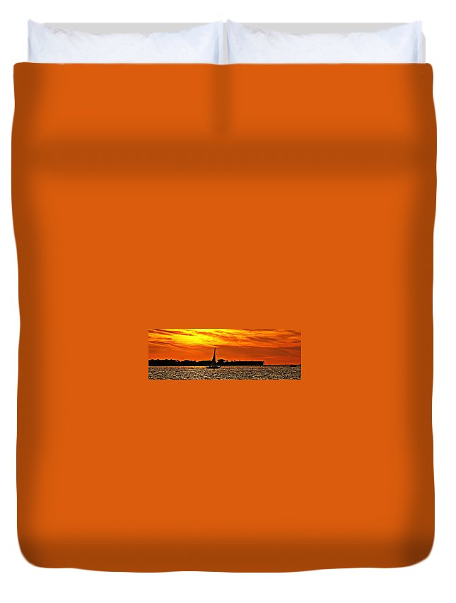 Sunset Duvet Cover featuring the photograph Sunset Xii by Joe Faherty