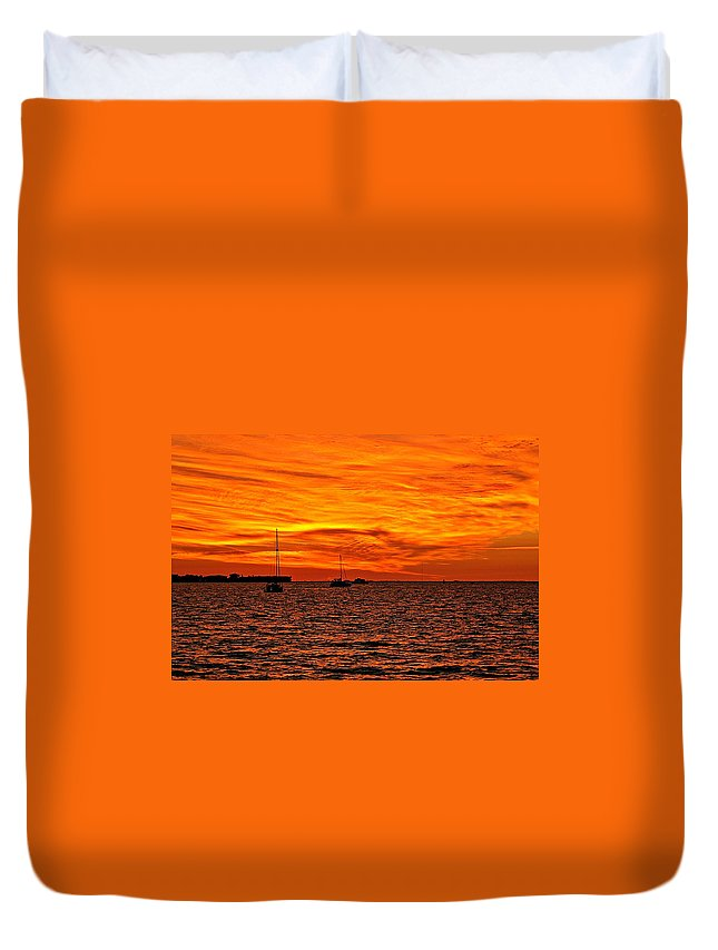 Sunset Duvet Cover featuring the photograph Sunset Xix by Joe Faherty