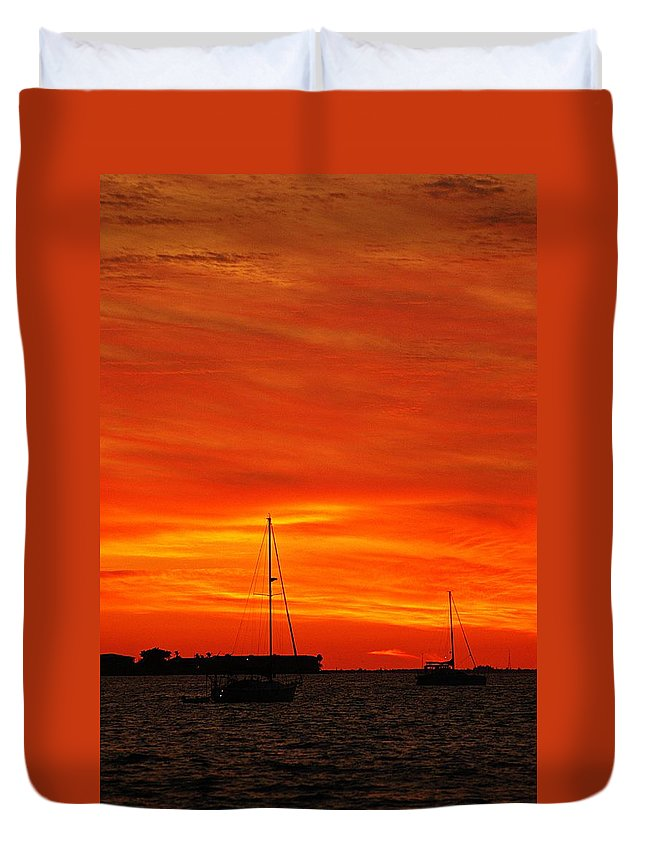 Sunset Duvet Cover featuring the photograph Sunset Xxvii by Joe Faherty