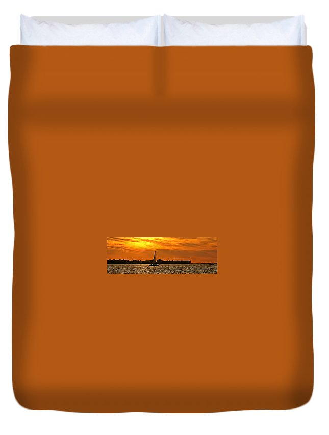 Sunset Duvet Cover featuring the photograph Sunset Xxxiii by Joe Faherty
