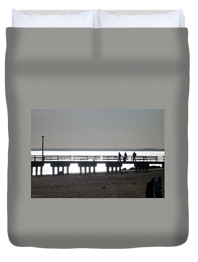 Brooklyn Duvet Cover featuring the photograph Sunsets On Coney Island Pier by Rob Hans