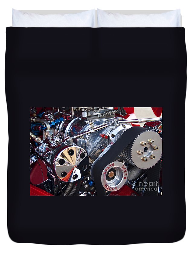 Engine Duvet Cover featuring the photograph Supercharger by Paul W Faust - Impressions of Light