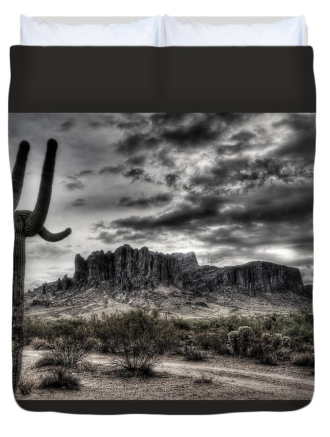 Arizona Duvet Cover featuring the photograph Superstition Saguaro by Saija Lehtonen