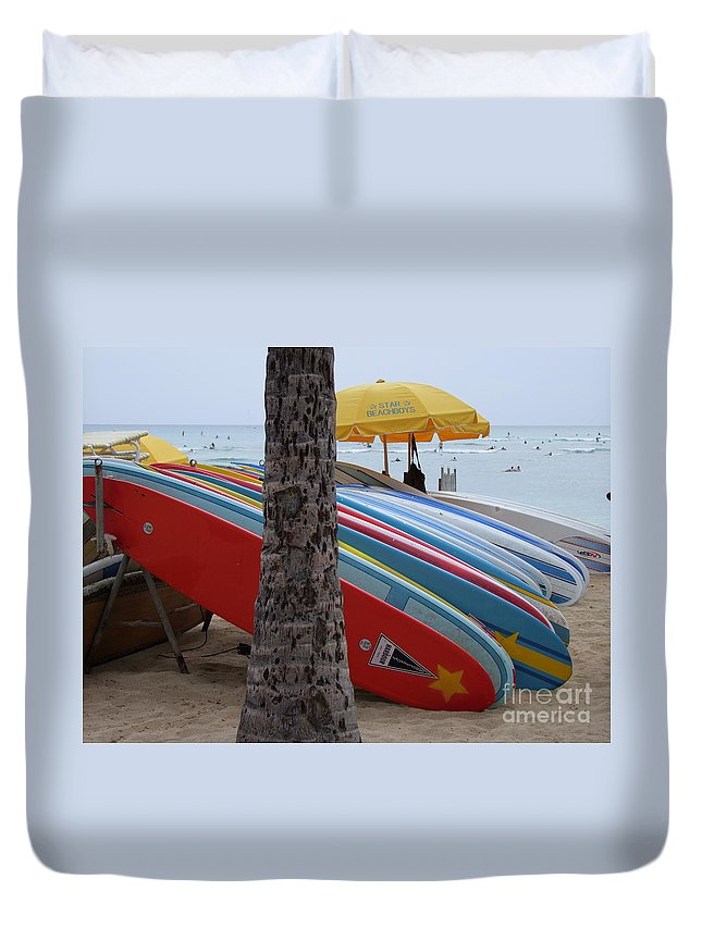 Mary Deal Duvet Cover featuring the photograph Surfboards On Waikiki Beach by Mary Deal