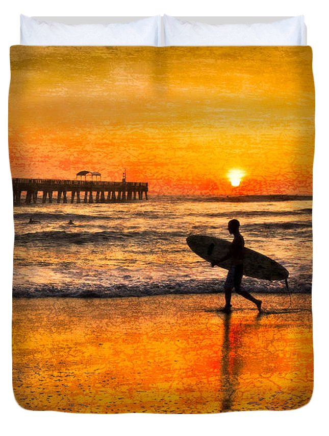 Blowing Duvet Cover featuring the photograph Surfer Silhouette by Debra and Dave Vanderlaan