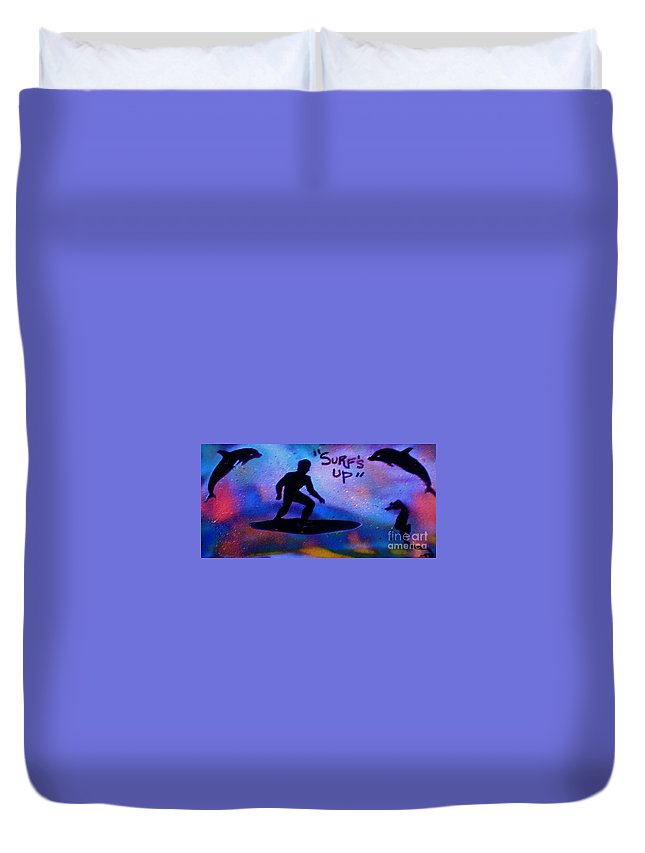 Mermaid Duvet Cover featuring the painting Surfs Up by Tony B Conscious
