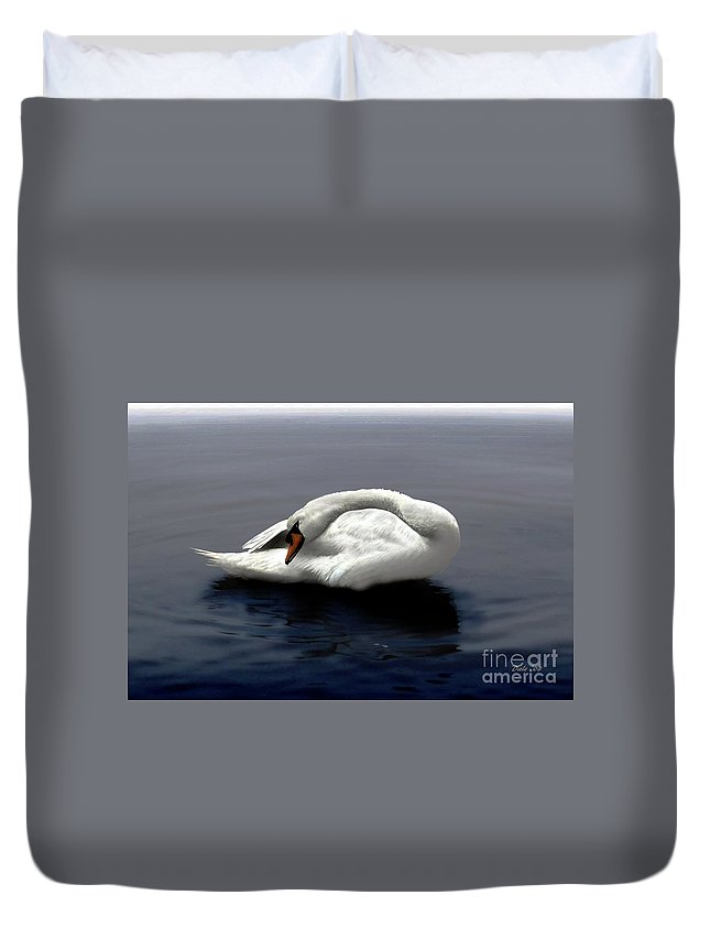 Seabirds Duvet Cover featuring the digital art Swan Posing by Dale  Ford