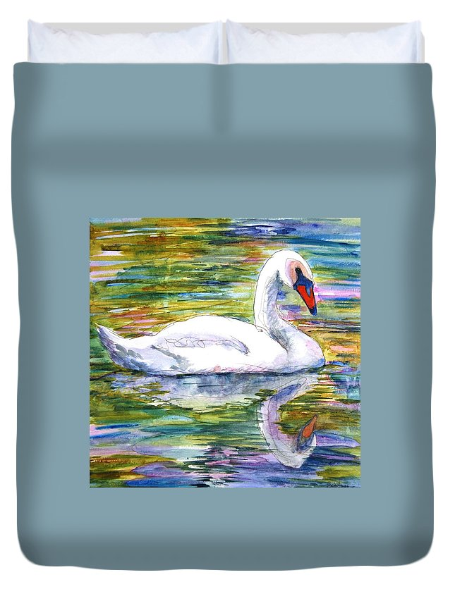 Swan Duvet Cover featuring the painting Swan Summer by SchulmanArt