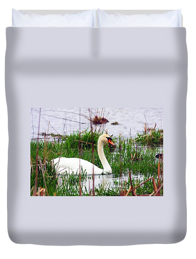 Swan Duvet Cover featuring the photograph Swan's Marsh by Marie Jamieson