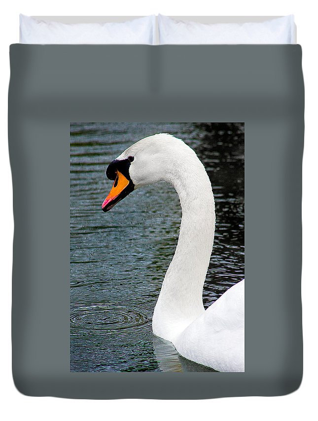 Swan Duvet Cover featuring the photograph Swansong by Burney Lieberman