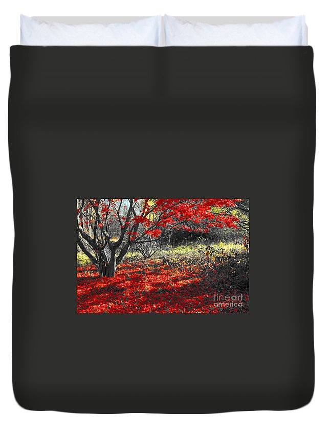 Red Duvet Cover featuring the photograph Sweetest Goodbye by Trish Hale