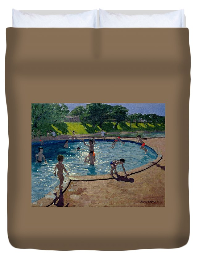 Summer Duvet Cover featuring the painting Swimming Pool by Andrew Macara
