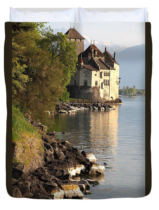 Castle Duvet Cover featuring the photograph Switzeralnd by Milena Boeva