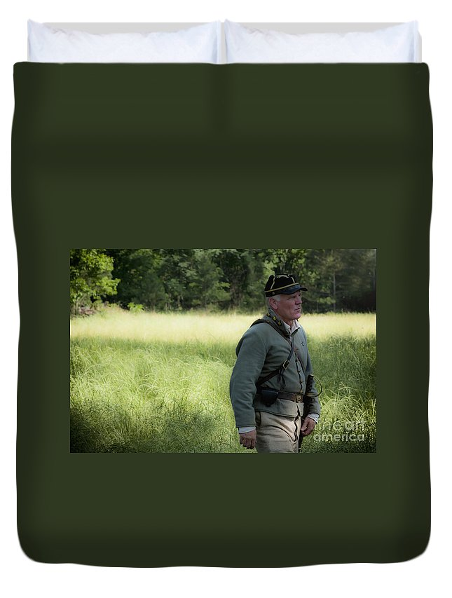 Reenactment Duvet Cover featuring the mixed media Sword At My Side by Kim Henderson
