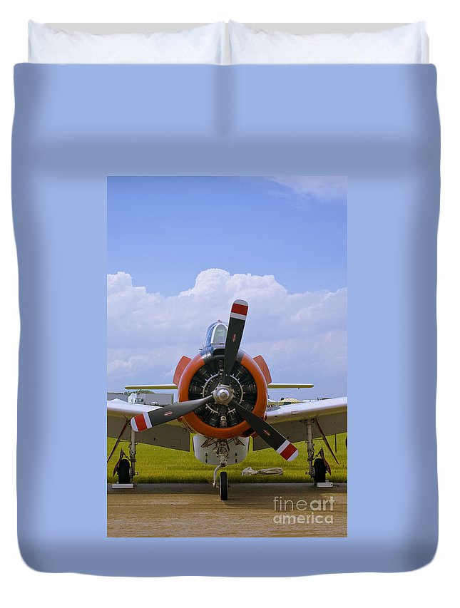 T-28 Duvet Cover featuring the photograph T-28 Nose by Tim Mulina