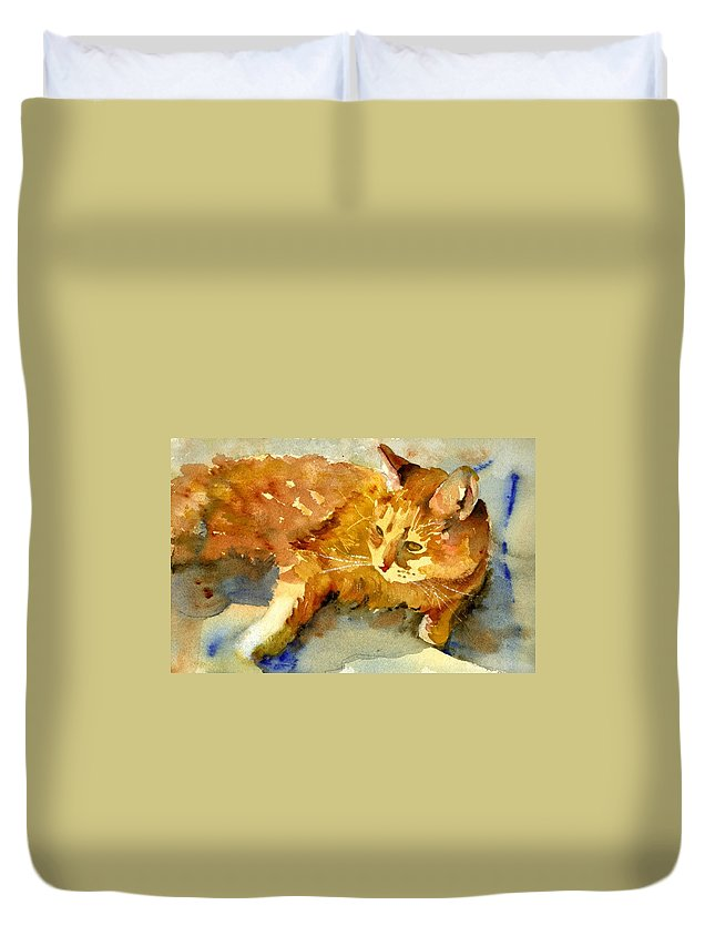 Art Duvet Cover featuring the painting Tabby Lights by Miriam Schulman